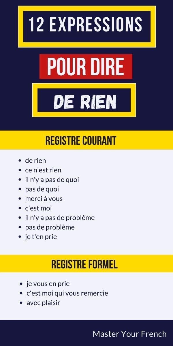 liste pin des expressions françaises pour dire de rien