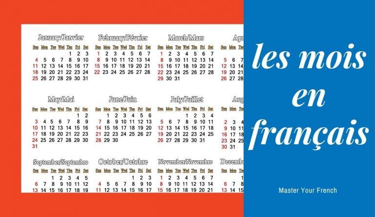 calendrier des mois en français avec tradution en anglais