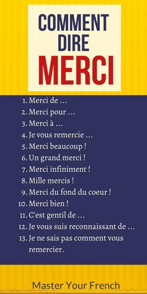 liste expressions pour dire merci en français