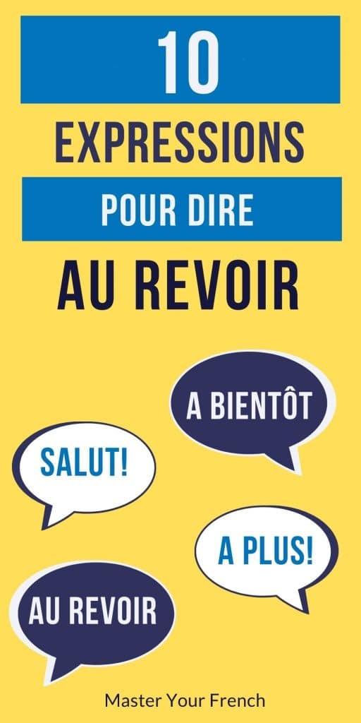 infographie 10 expressions pour dire au revoir en français