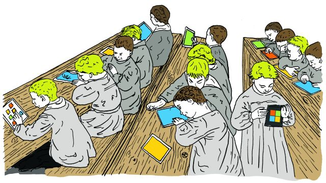 étudiants en classe avec des tablettes tactiles