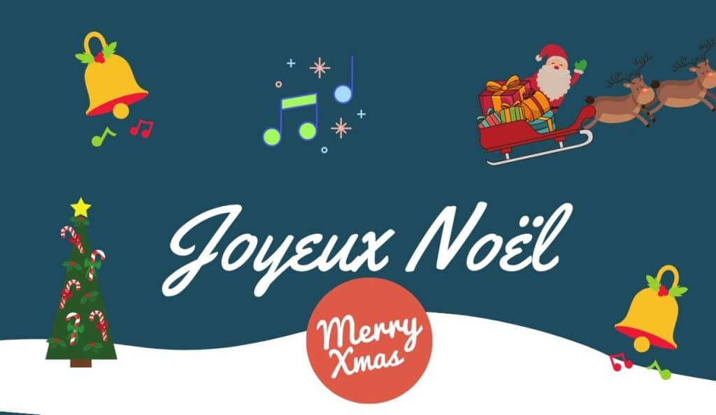 merry christmas in french with music note