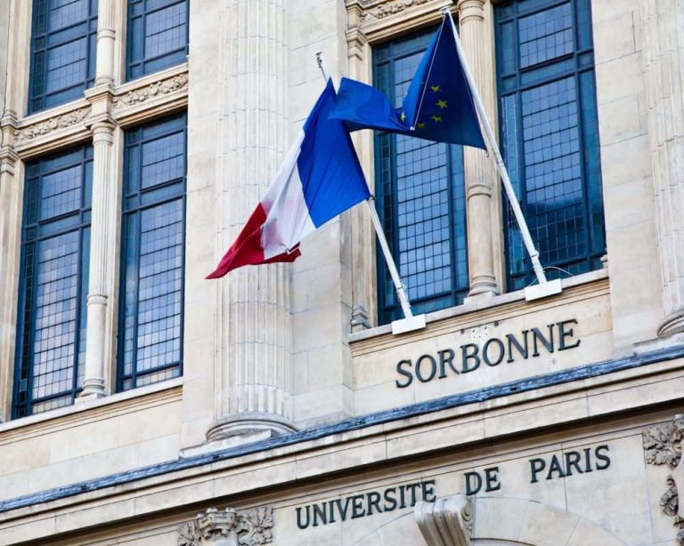 university paris with french and european flag