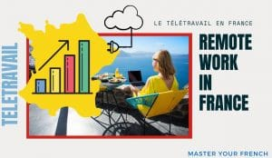 woman laptop remote work growth france télétravail