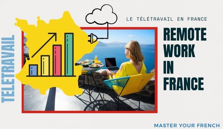 woman laptop remote work growth france télétravail