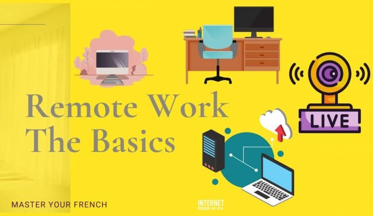 basics remote work laptop desk webcam connection
