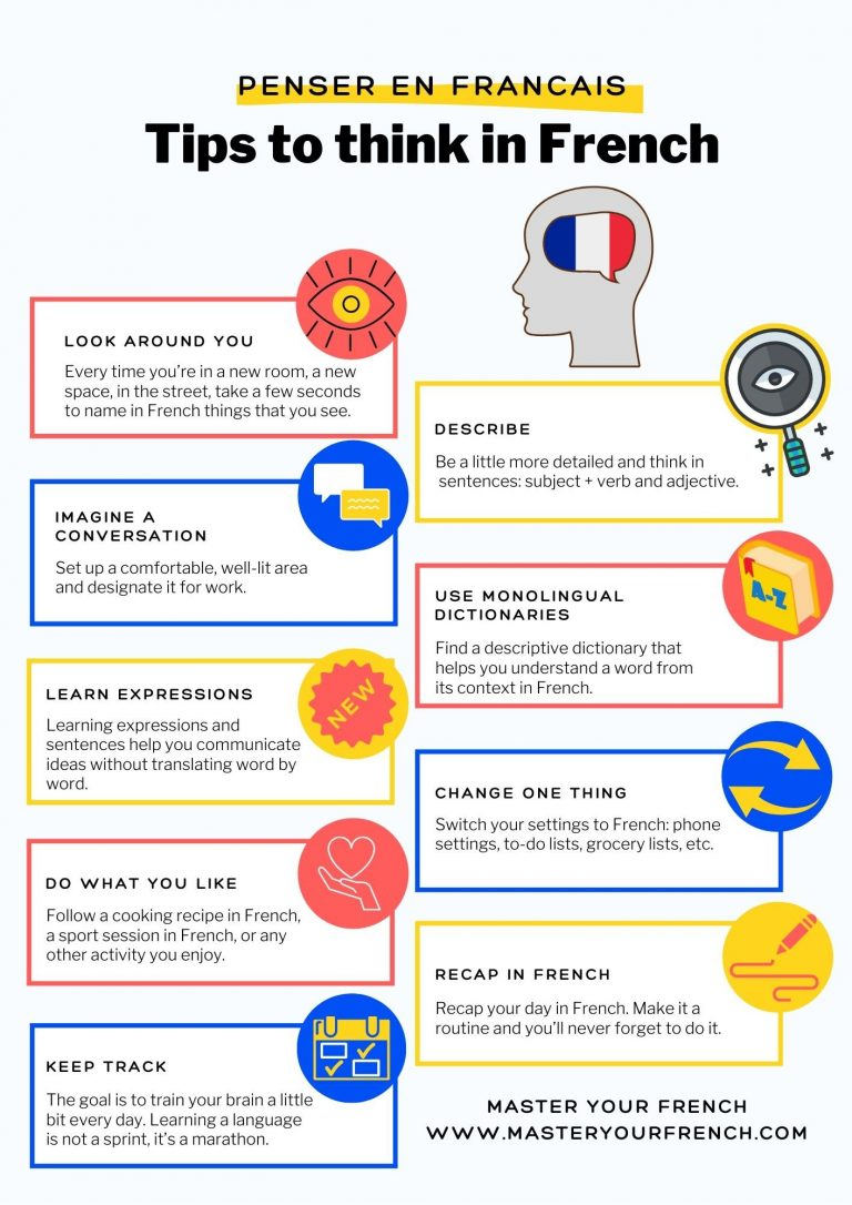 infographic 9 tips to think in french