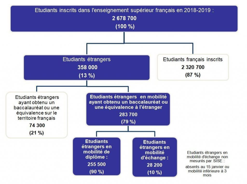diagram french and international students distribution france percentages