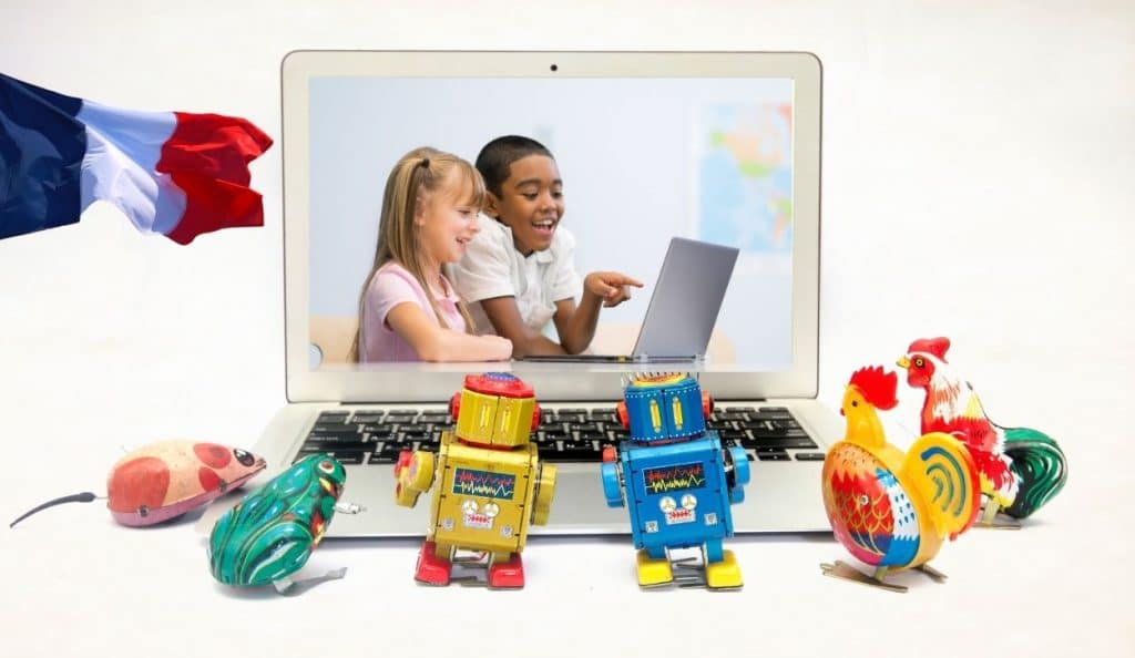 boy girl robots looking laptop screen with flag of france