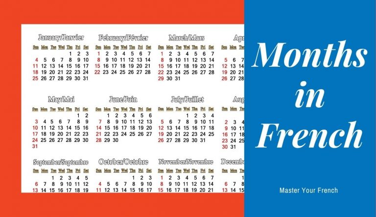 calendar months year in french translated english