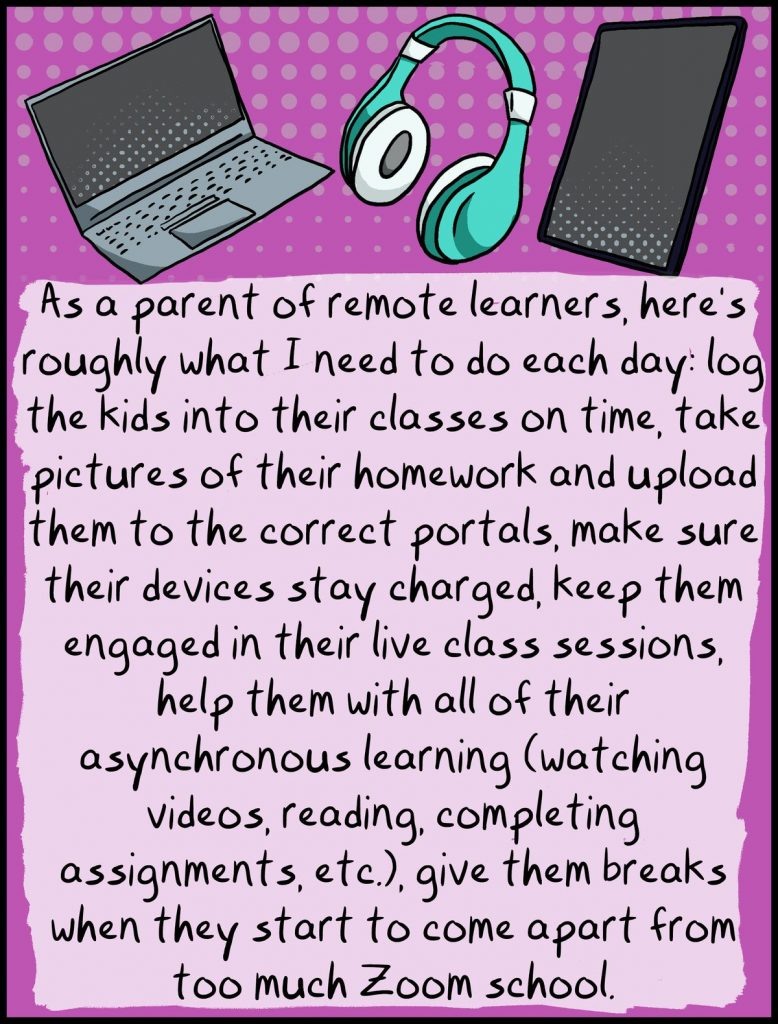 comic cartoon remote learner parent notes