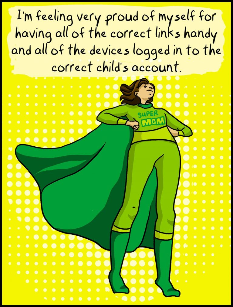 comic cartoon super mom in green