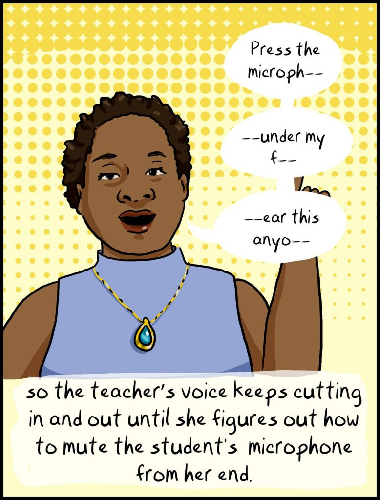 comic cartoon teacher voice cutting