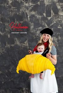 french croissant costume baby with mother