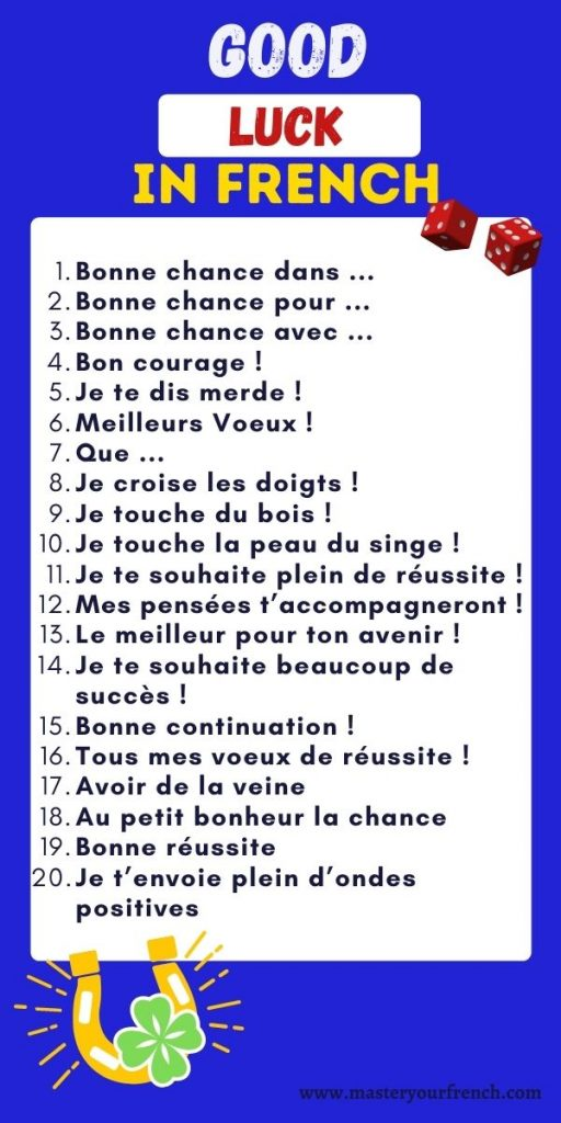 list good luck expressions in french