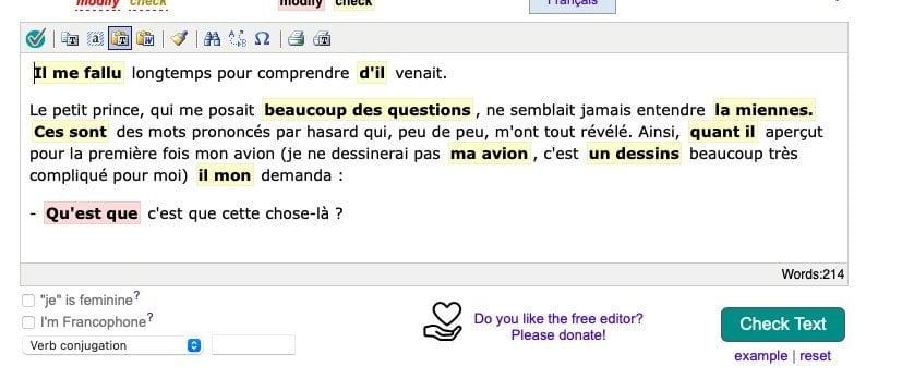 bonpatron franch grammar checker