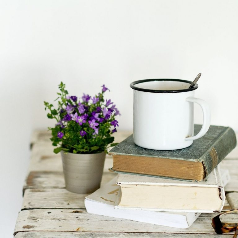 book mug and flowers